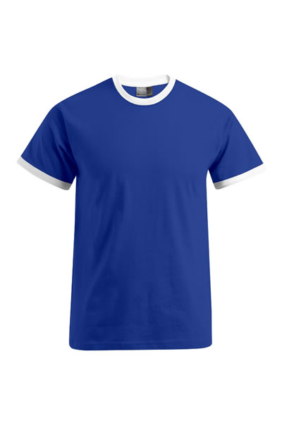 Men's Contrast-T Shirt, farbig abgesetzte Bündchen an Hals und Ärmeln, Single Jersey, 100 % Baumwolle, 180 g/m², S–XXL.  Preis: 7,99€ incl.19% MwSt.  Verfügbare Größen: S, M, L, XL, XXL Artikelnummer: 10405